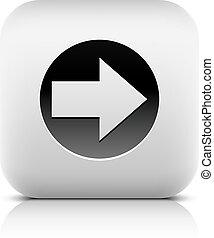 tela, círculo, icono, muestra de la flecha