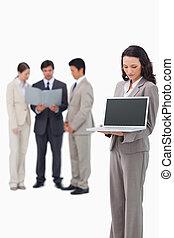 tela, caderno, saleswoman, mostrando, dela