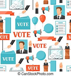 tela, campaña,  leaflets, político, patrón, elecciones,  seamless, sitios, Plano de fondo, voto,  flayers