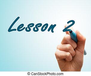 tela, caneta escrito, 2, mãos, lição