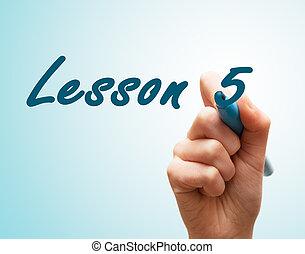 tela, caneta escrito, 5, mãos, lição