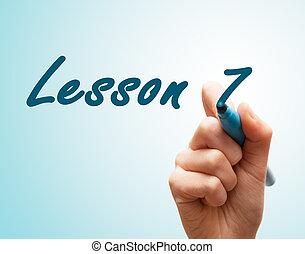 tela, caneta escrito, 7, mãos, lição