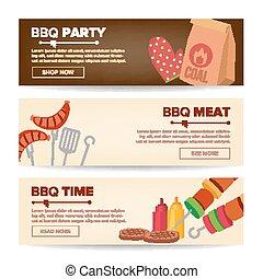 tela, carne, fondo., promo, aislado, ilustración, filete, salchichas, assortment., vector., asado parrilla, barbacoa, banderas horizontales, barbacoa, vegetables.