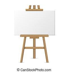 tela, cavalletto, legno, fondo., vettore, vuoto, bianco