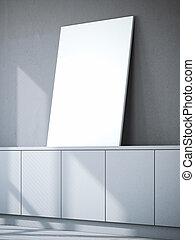 tela, chest., interpretazione, vuoto, bianco, 3d