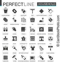 tela, clásico, iconos de familia, negro, aparatos, set.
