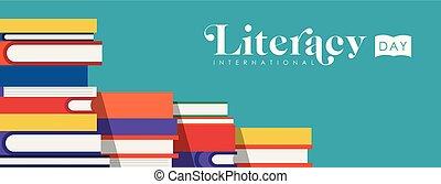 tela, colegiales, libros, bandera, día, alfabetismo