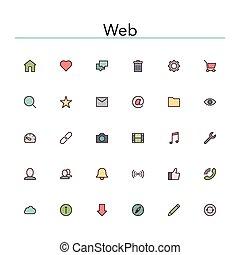 tela, coloreado, línea, iconos