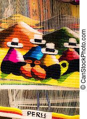 tela, colorido, sudamérica, mercado, perú