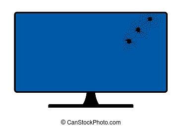 tela computador, buracos bala