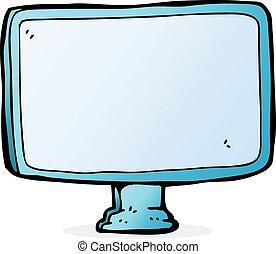 tela, computador, caricatura