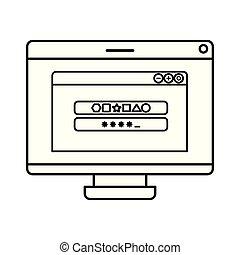 tela computador, com, janela aberta, ícone, isolado