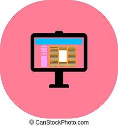 tela computador, vetorial, ícone