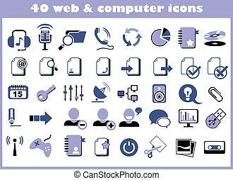 tela, computadora, 40, iconos
