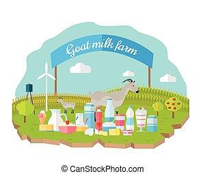 tela, concepto, orgánico, granja, bandera, leche