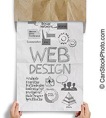 tela, concepto, tenencia, iconos, cartel, mano, papel,...