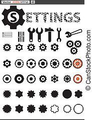 tela, conjunto, ajustes, rueda dentada, icons., vector