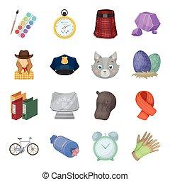 tela, Conjunto, animales,  taxi, iconos, Colección, educación,  rodeo, otro, embalaje, caricatura, estilo, policía, icono