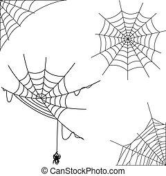 tela, conjunto, caricatura, colección, araña