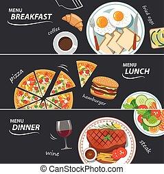 tela, conjunto, cena del almuerzo, desayuno, bandera