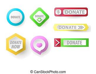tela, conjunto, collection., botón, botones, donar, caridad