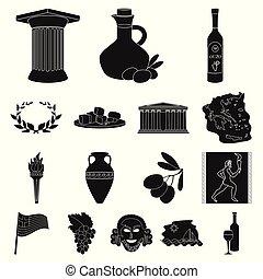 tela, conjunto, design.greece, illustration., iconos, país, símbolo, colección, vector, negro, grecia, señal, acción