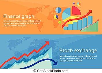 tela, conjunto, finanzas, intercambio, gráfico, gráfico, ...