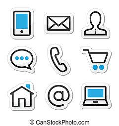tela, conjunto, iconos, contacto, golpe, vector