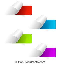 tela, conjunto, iconos, pegatina, labels., multicolor