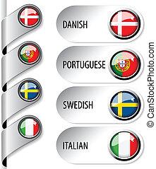 tela, conjunto, idioma, indicadores, -, bandera, vector, 2