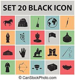 tela, conjunto, illustration., iconos, país, símbolo, mongolia, vector, negro, colección, señal, design.territory, acción