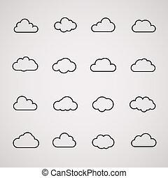 tela, conjunto, informática, app, iconos, formas, vector, nube