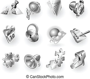 tela, conjunto, metal, metálico, aplicación, icono
