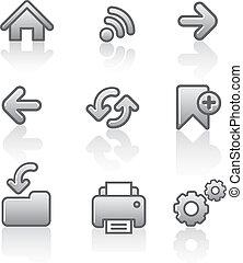 tela, conjunto, navegación, icono