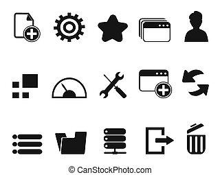 tela, conjunto, tablero de instrumentos, iconos