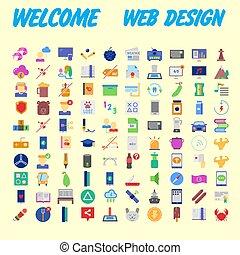 tela, conjunto, universal, vector, plano de fondo, naranja, 100, mobile., icono