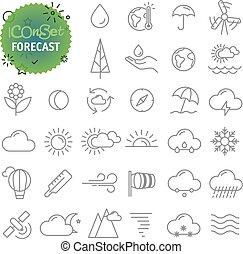 tela, contorno, iconos, simple, collection., app, pronóstico, móvil, set.