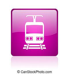 tela, cuadrado, tren, brillante, violeta, icono