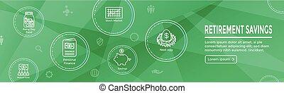 tela, cuenta, retiro, w, ira, etc, encabezamiento, mutuo, roth, ahorros, conjunto, fondo, bandera, icono