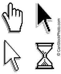 tela, cursores, flecha, mano