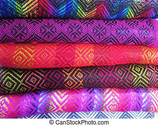 tela, de lana, mano, peruano, hecho