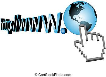 tela, de par en par, url, cursor, mundo, clic, 3d
