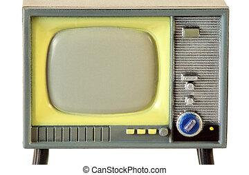 tela, de, pequeno, retro, plástico, televisão, isolado, branco, fundo