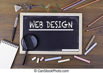 tela, design., texto, en, el, tiza, board., tabla de madera, con, un, lupa, y, escritura, utensilios