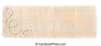 tela di sacco, etichette, con, decorazione, sopra, bianco