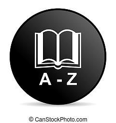 tela, diccionario, brillante, negro, icono, círculo
