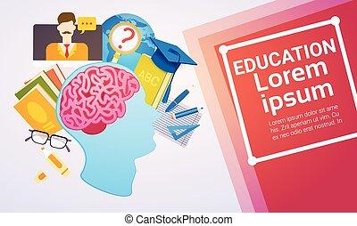 tela, educación, bandera, aprendizaje, en línea