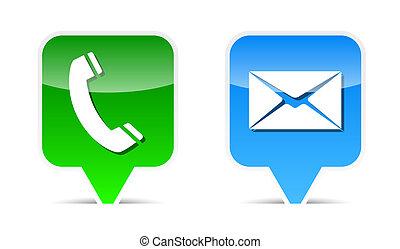 tela, elementos, diseño, correo, teléfono