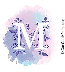 tela, elementos,  natural, cartel, hojas, rizos,  typographics, elemento, acuarela, Plano de fondo,  M, diseño, carta, caligrafía