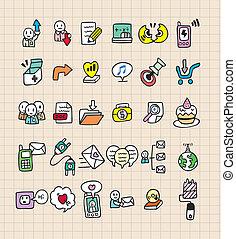 tela, empate, mano, icono